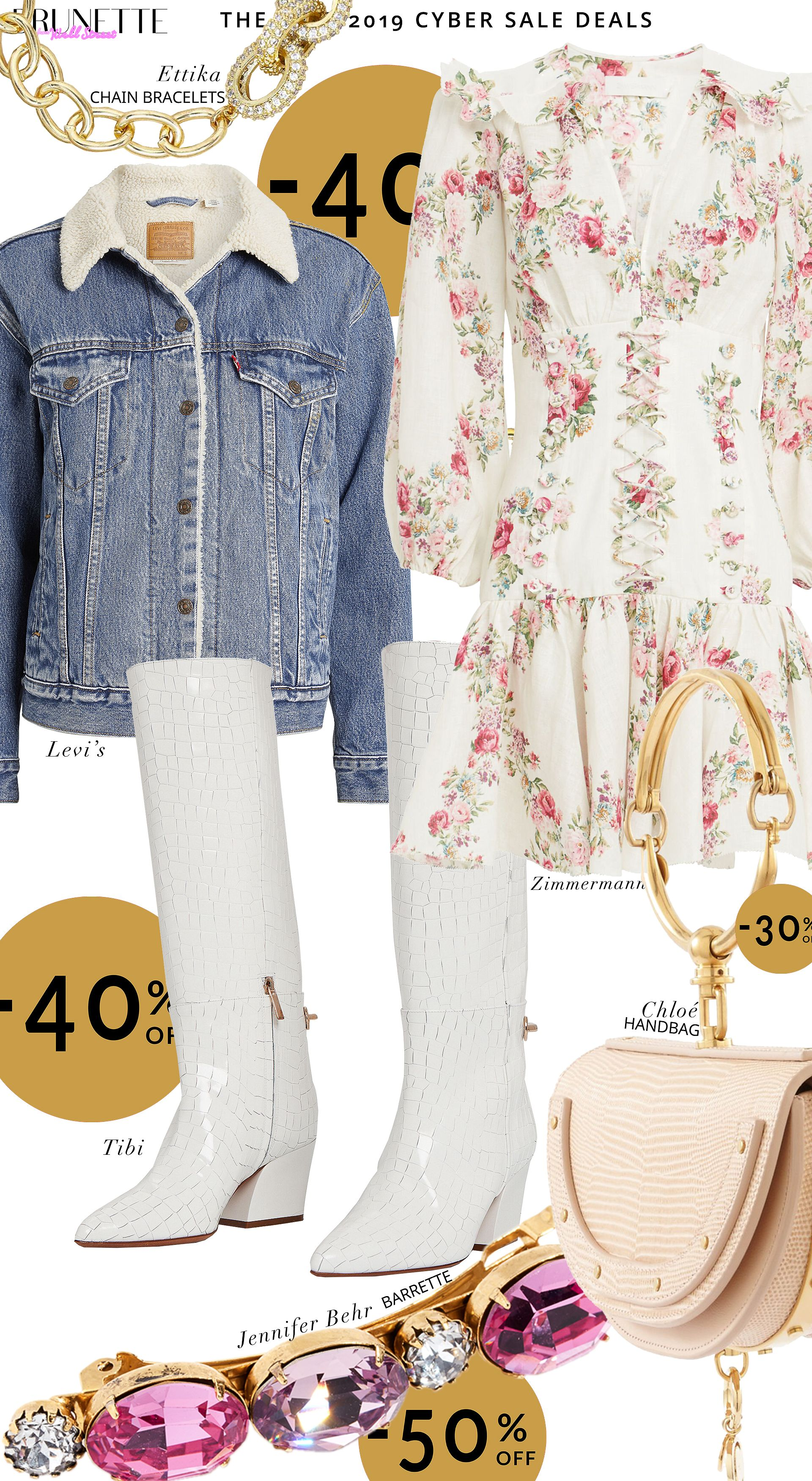 You need to shop from this Cyber Week sale if you have a boho chic style. Just look how pretty that Zimmerman dress is - now 40% off. And how cool that Levi's jacket is. Not mentioning how chic are the Tibi boots. And Chloé Nile bag? Yes, that bag is on sale too! Read it to visit Brunette from Wall Street and find out where to find the best Cyber Week deals on this boho chic look #cybermonday #bestbuy #outfitideas