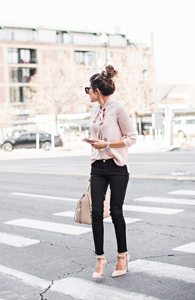 0e57f1ab Freshen up your winter wardrobe with an injection of blush pink like  Christine Andrew', who wears the trend in a gorgeous silky blouse and  matching heels ...