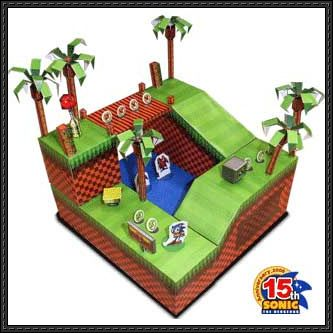 New Paper Craft Sonic The Hedgehog Green Hill Zone Diorama Free Papercraft Download On Papercraftsquare Papercraft Download Sonic Party Sonic The Hedgehog