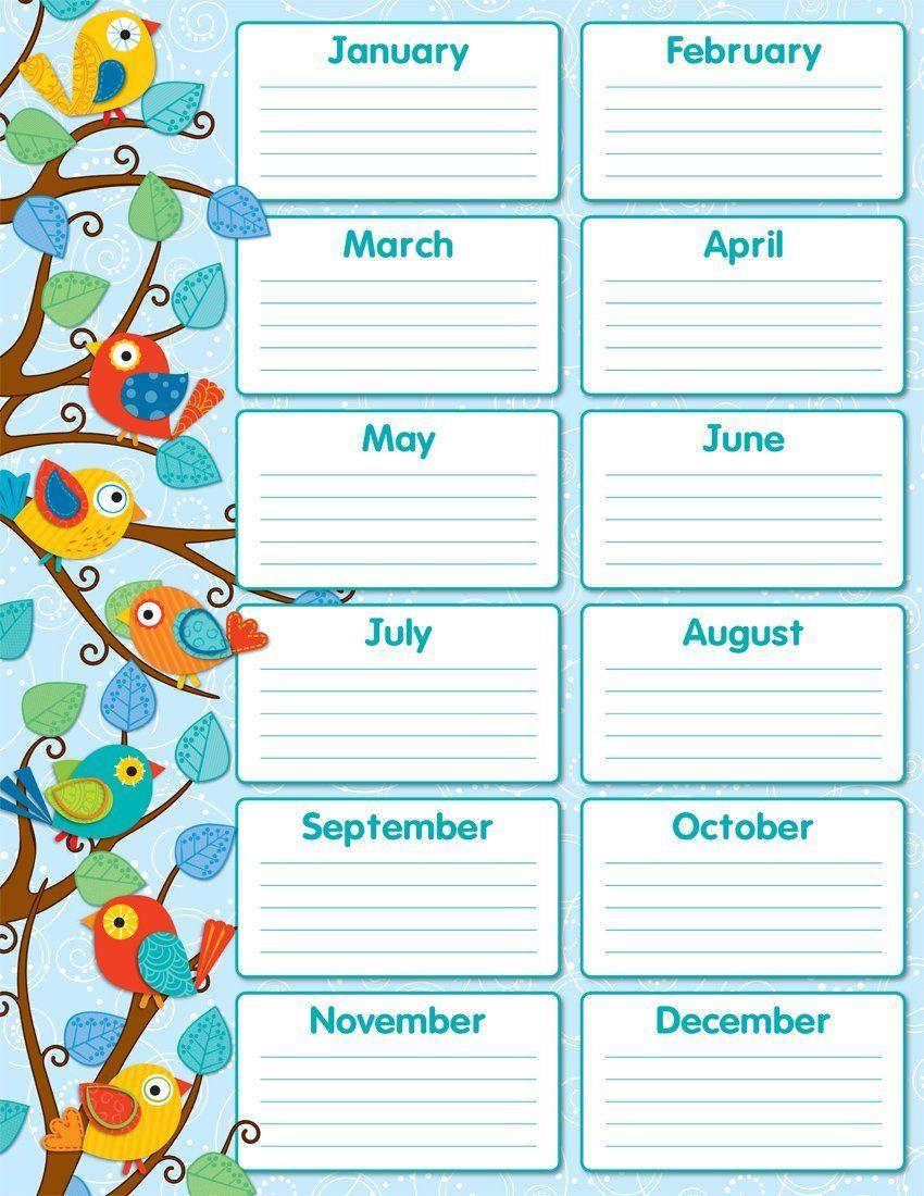 Amazon Carson Dellosa Boho Birds Birthday Chart 114187 Themed Classroom Displays And Decoration Office Products