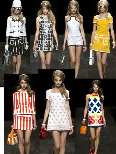 moschino spring 2013  http://misspois.altervista.org/blog/moschino-spring-2013-lets-60s-show/#