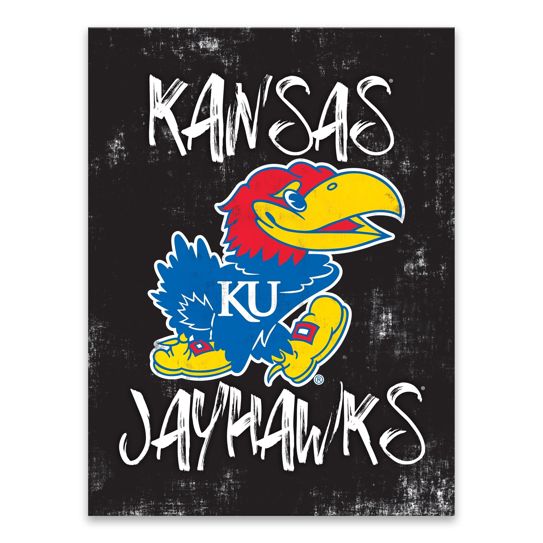 Kansas Jayhawks Grunge Printed Canvas 18w X 24h X 1 25d Multi