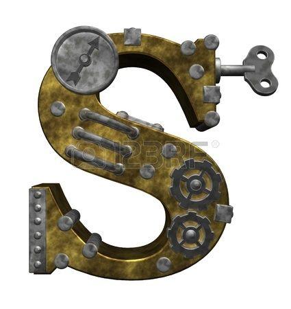 steampunk letra s en el fondo blanco - 3d ilustración photo