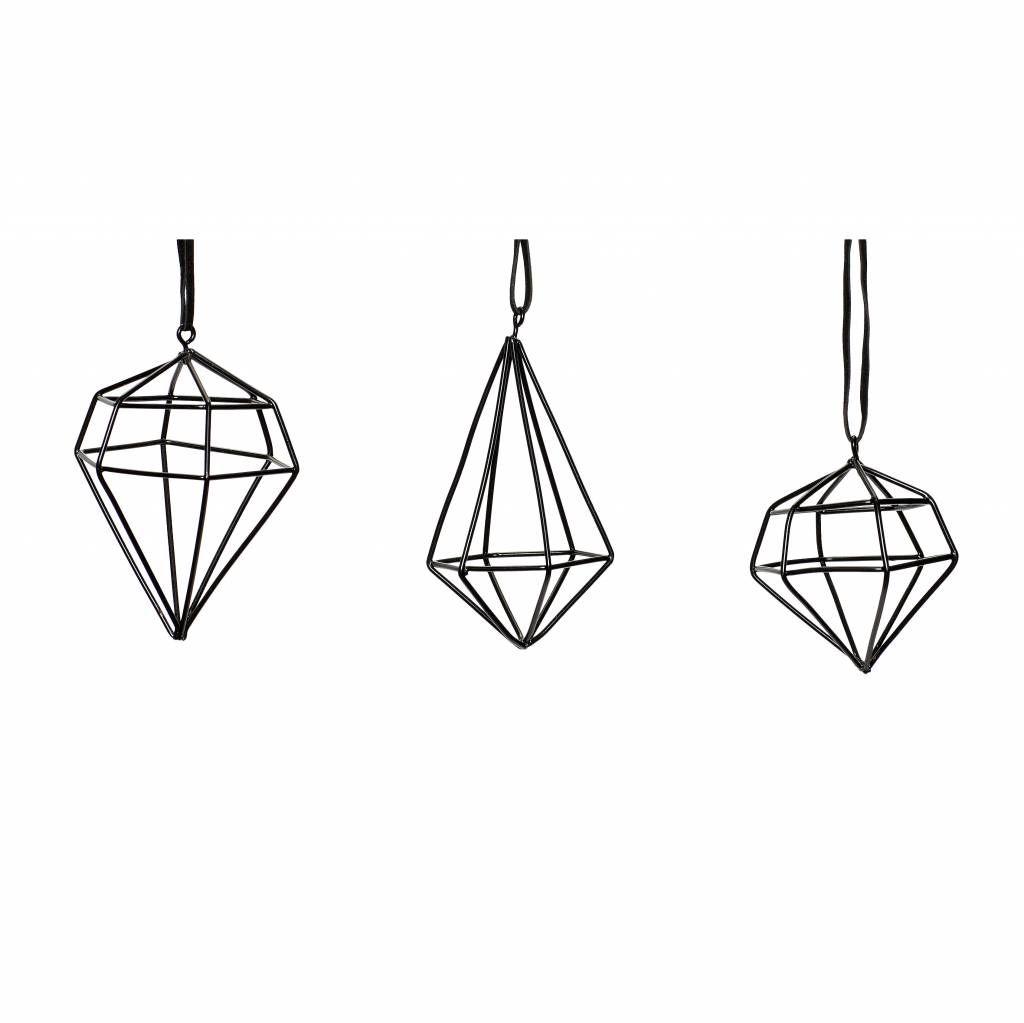 Hübsch Interior Anhänger Diamant 3er Set schwarz aus Metall | X-Mas ...
