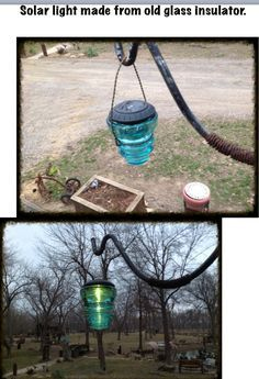 Solar Light Made From Old Gl Insulator Every Idea I Think Of Find Someone