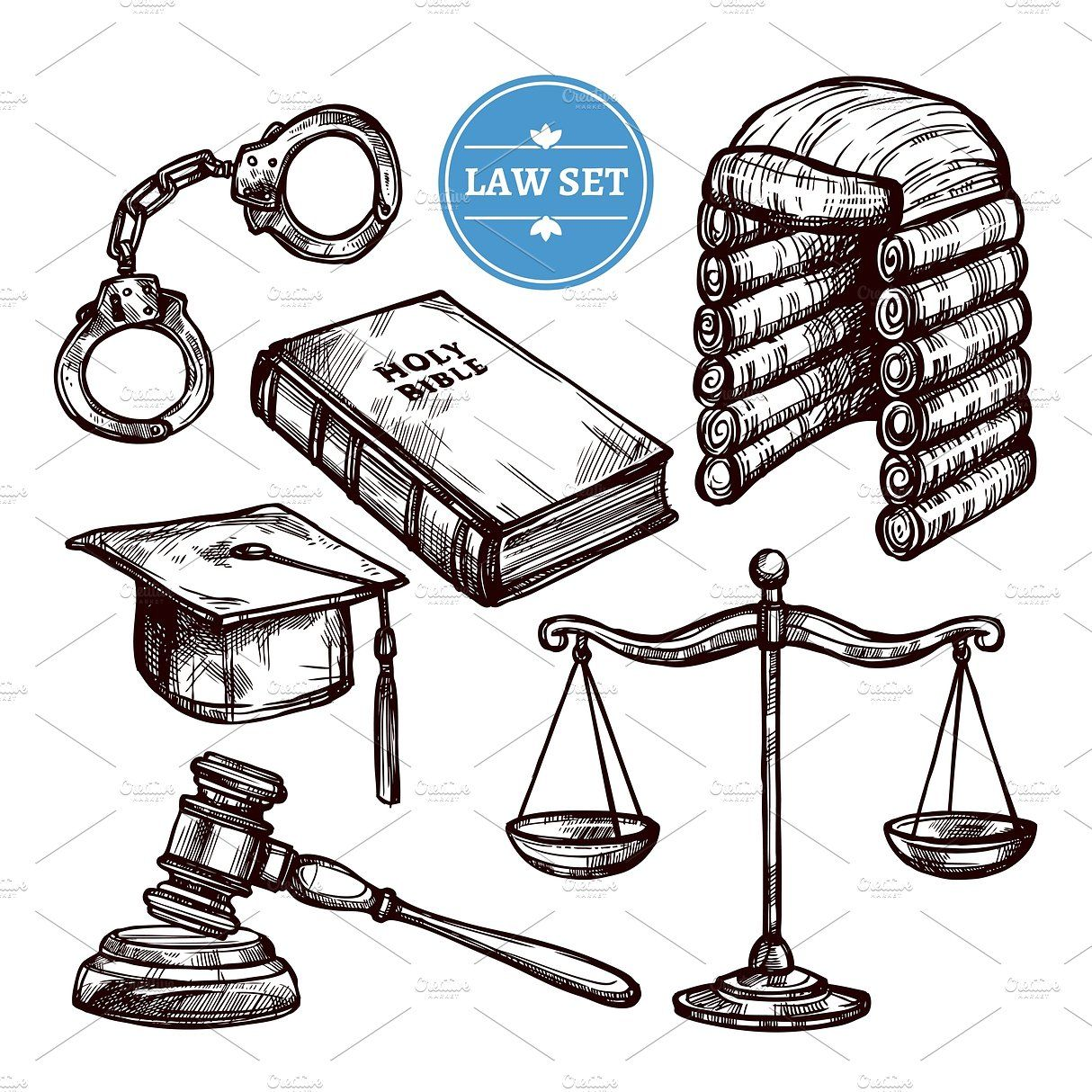 Hand Drawn Law Symbols Set How To Draw Hands Symbol Drawing Bible Drawing