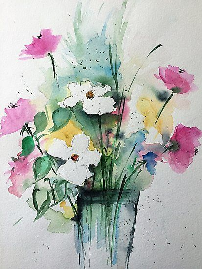 weiße Blumen in der Vase\' Fotodruck by Britta75 | Watercolor ...