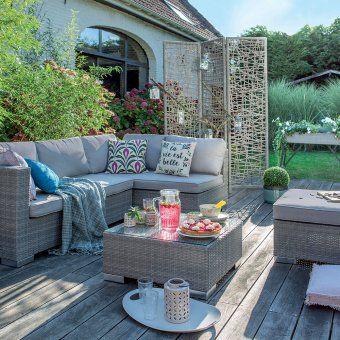 Un salon de jardin bas façon résine tressée, Jardiland | Exterieurs ...