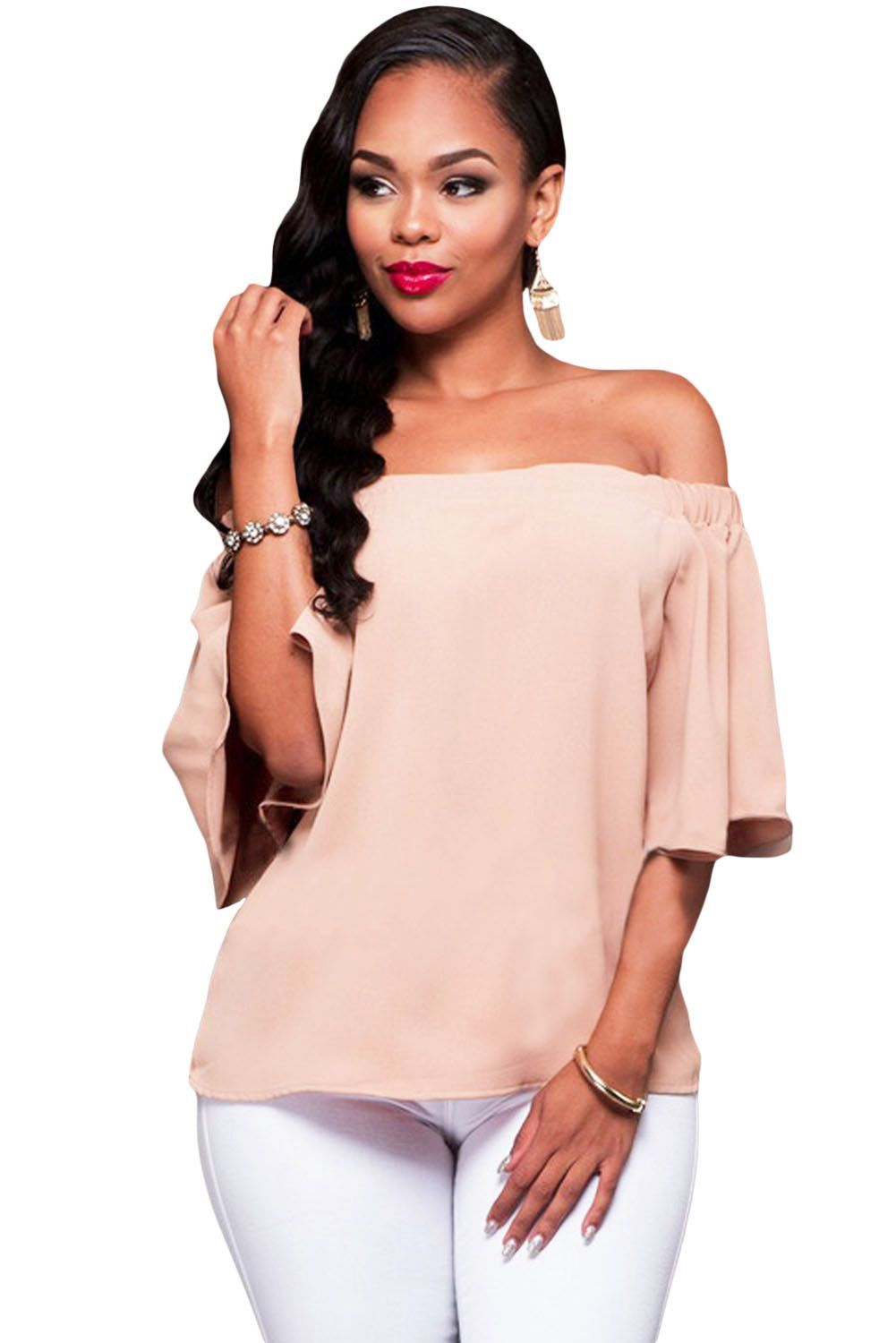 16f1368ecb Her Chic Pink Off-the-shoulder Women Top