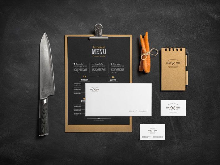 Restaurant Bar Free Branding Mockup Branding Mockups Free Stationery Stationery Branding