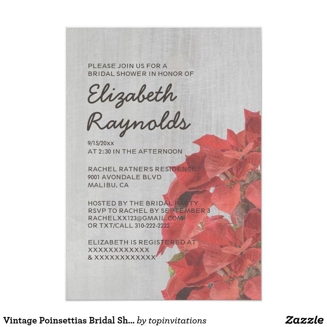 Vintage Poinsettias Bridal Shower Invitations | Bridal showers and ...