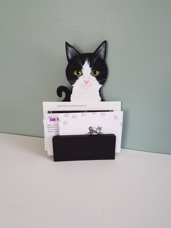 Custom Cat Mail Holder Desk Organizer Cute Desk Accessories Etsy Cute Desk Accessories Art Desk Custom Cat Portrait