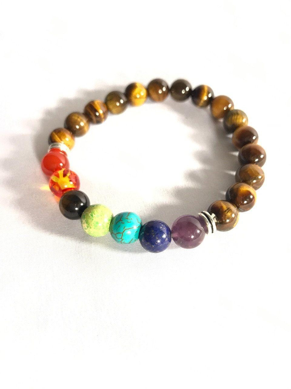 Tiger Eye Bracelet, Tiger Eye, 6mm Healing Crystal Bracelet, 7 Chakra Bracelets, by HolisticViewByAshley on Etsy