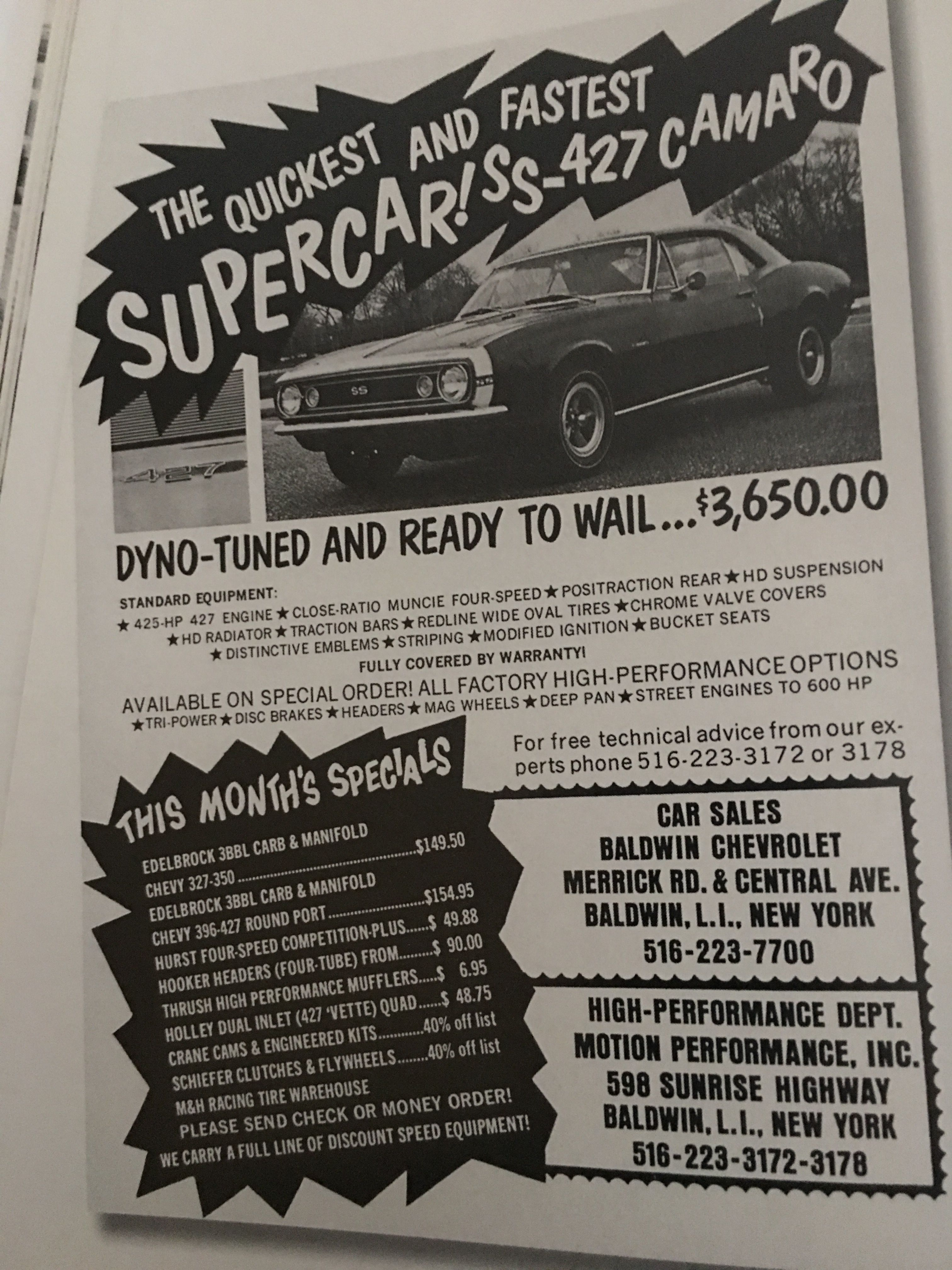 Baldwin Chevrolet High Performance Options Ad Muscle Car Ads Muscle Cars Camaro