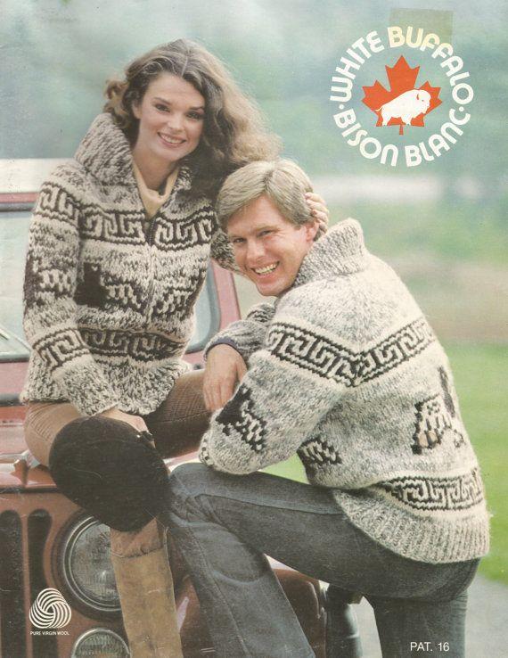 White Buffalo Pattern 16 Cowichan Salish sweater Knit cardigan ...