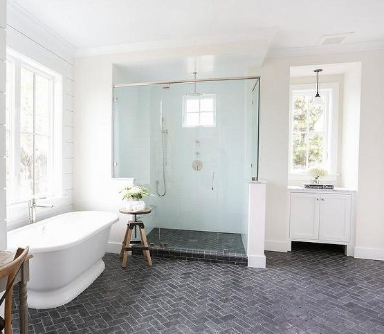 Brick floor tile with herringbone pattern in modern for Trends in bathroom tile