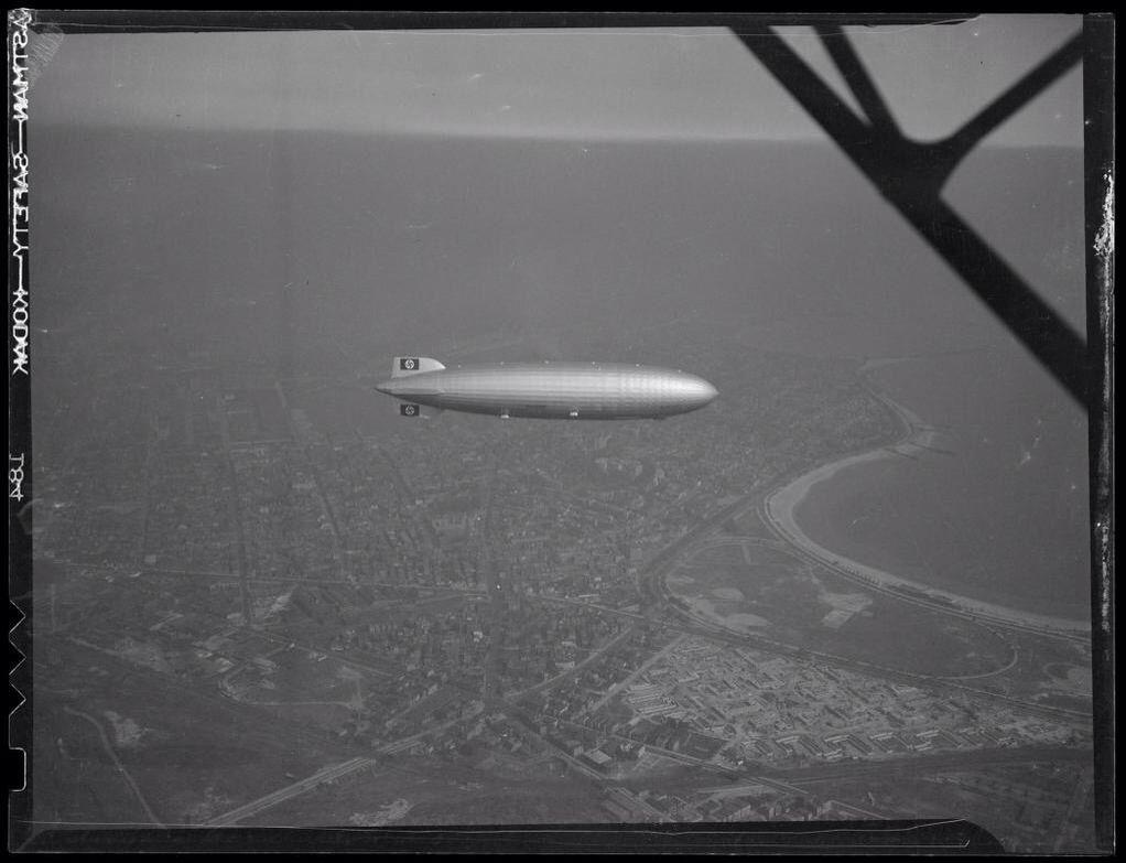 The Hindenburg over south Boston, 1936