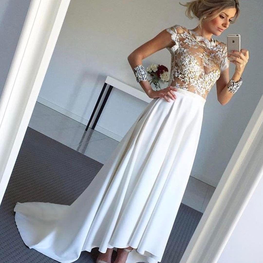 High low wedding dress sexy sheer corset ღ wedding dress