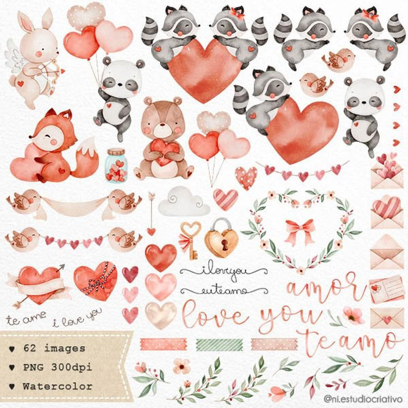 Valentines Day Watercolor Clipart Woodland Animals Watercolor Love Decor Art Valentines Day Card Printables Love Couple Animals Graphics Valentines Watercolor Clip Art Watercolor Clipart