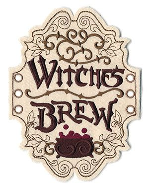 Witches Brew Apothecary Label In The Hoop Thread List Urban Threads Unique And Awesome Embroidery Apothecary Labels Witches Brew Labels Halloween Labels