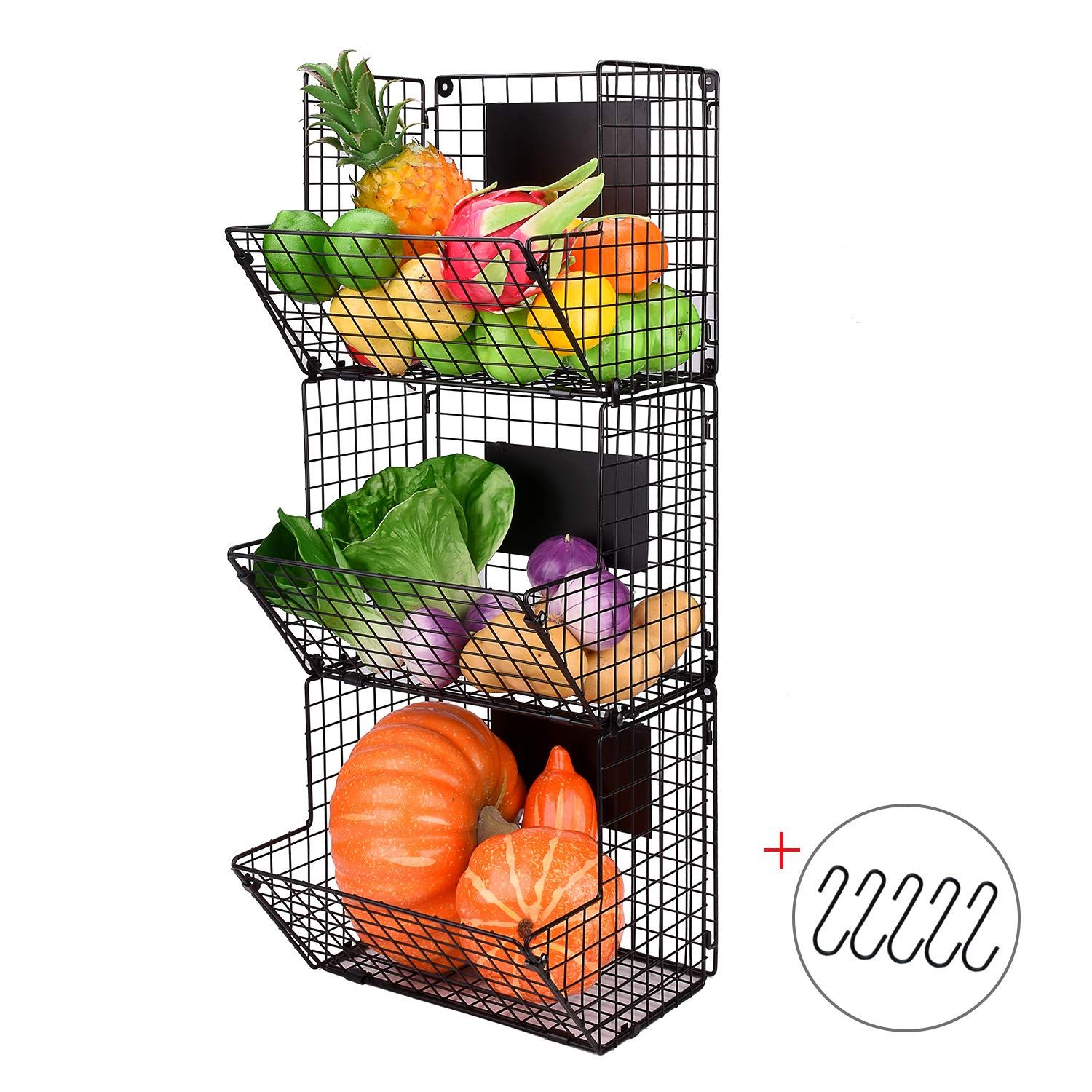 X Cosrack Metal Wire Basket Wall Mount 3 Tier Wall Storage Basket Organizer With Hanging Hooks Chalkbo With Images Baskets On Wall Wall Basket Storage Wire Basket Storage