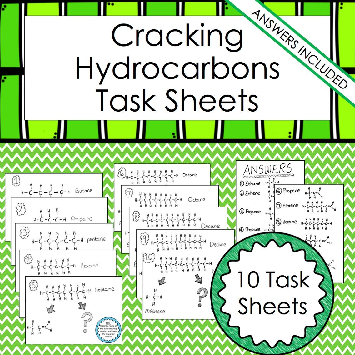 Hydrocarbons Cracking Alkane And Alkenes Worksheets Chemistry Lessons Question Cards Teachers Pay Teachers