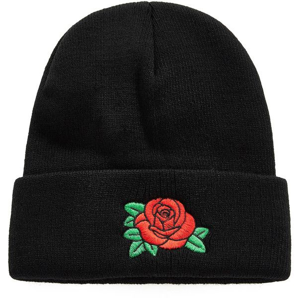 Embroidered Rose Beanie Hat (10 ILS) ❤ liked on Polyvore featuring  accessories, hats