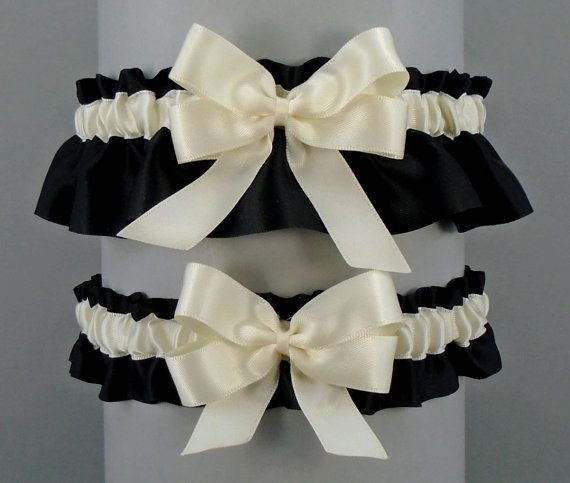 Wedding Garter Set Black Garters With Ivory Or White Trim And