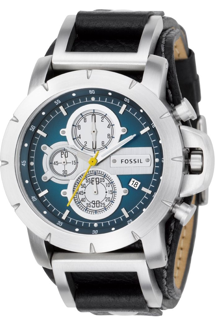 Fossil Men s JR1156 Black Leather Strap Blue Analog Dial Chronograph Watch     81.50   Fossil Watch Men 5fc517813b