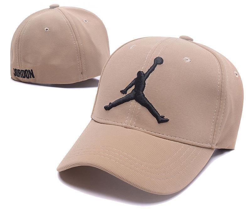 Mens Womens Nike Air Jordan The Jumpman Embroidery Logo Flexfit Hat Sand Black Gorras Jordan