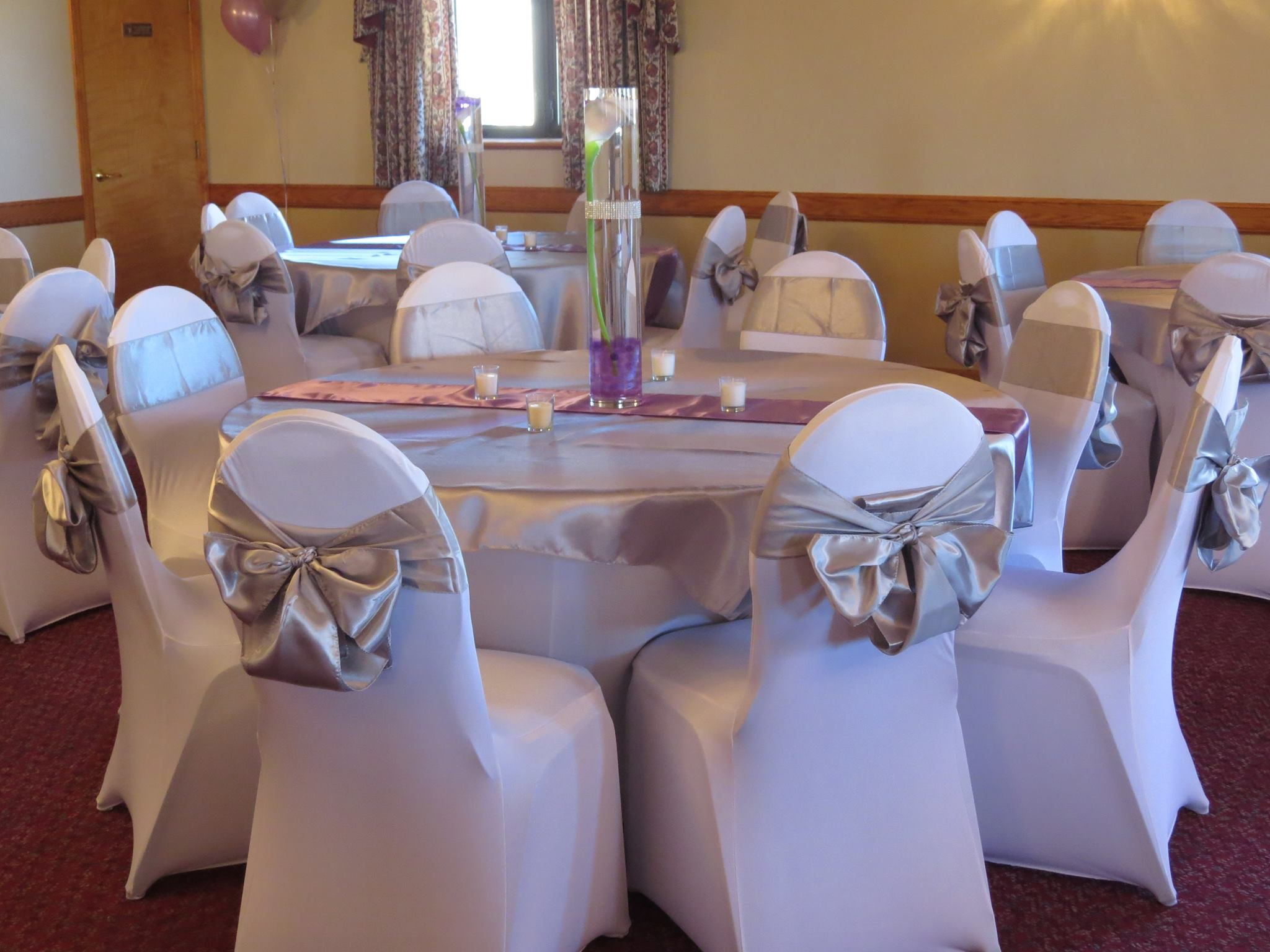 Spandex chair and table covers silver satin table overlays and