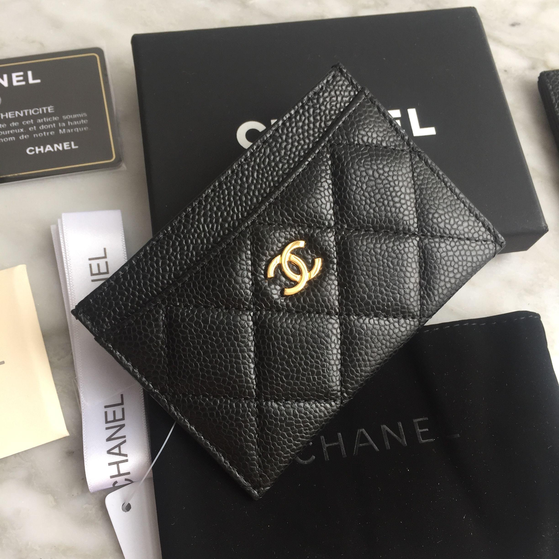 Chanel card holder caviar original leather chanel card