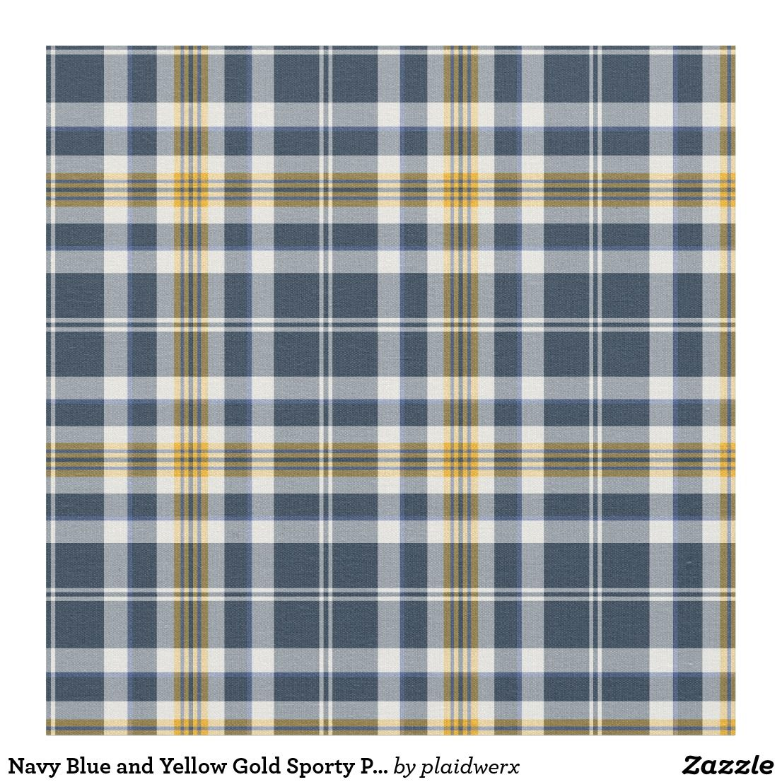 Navy Blue And Yellow Gold Sporty Plaid Fabric Blue And White Fabric Plaid Fabric Plaid Curtains