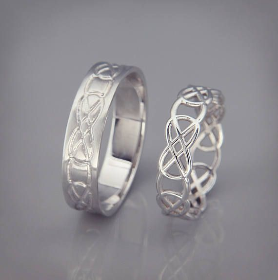 14k White Gold Celtic Knot Wedding Rings Set Handmade 14k White Gold Celtic Wedding Rings His And Hers Wedding Bands Set