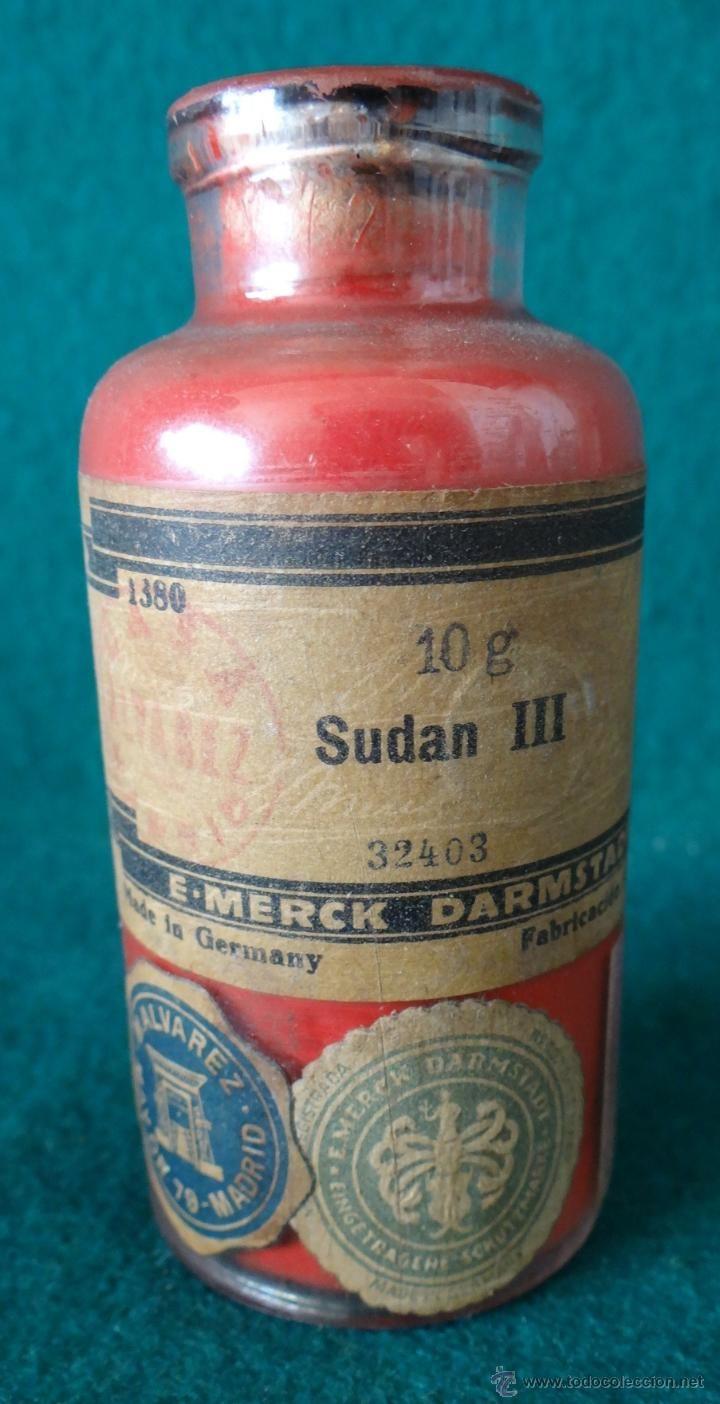 SUDAN III - MERCK - ANTIGUO FRASCO FARMACIA - AÑOS 1930,s - BOTAMEN -