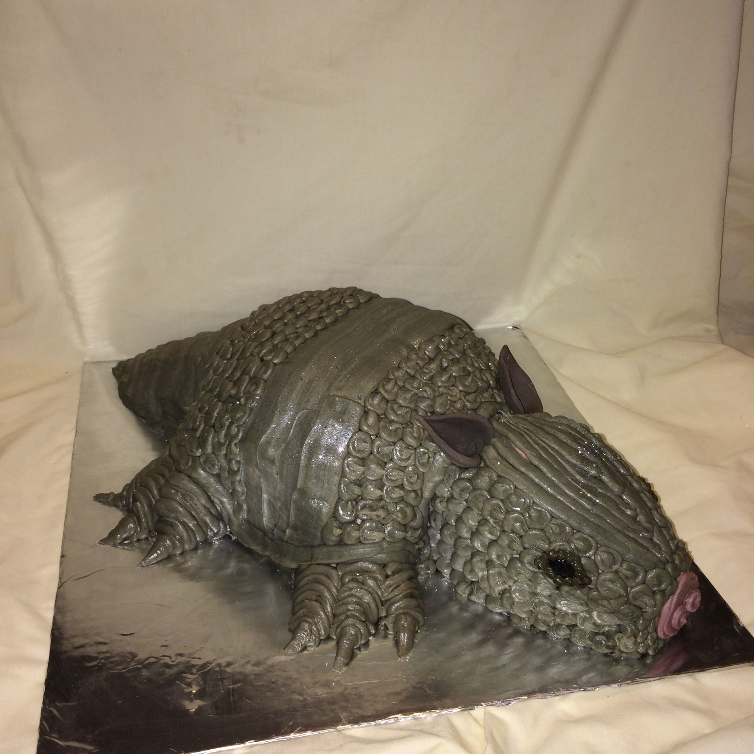 Red velvet bleeding armadillo cake by Inphinity Designs. Please visit my FB page Inphinity Designs at https://m.facebook.com/profile.php?id=71791500352&refsrc=https%3A%2F%2Fwww.facebook.com%2Fpages%2FInphinity-Designs%2F71791500352