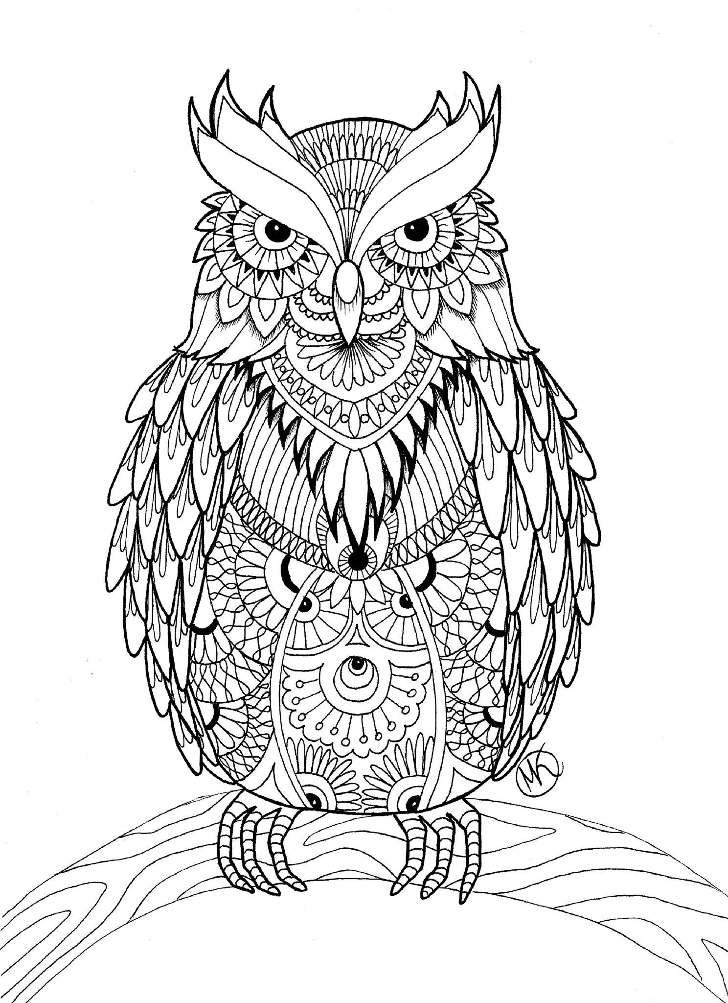 Artist Midzy Kreskami Coloring Pages For AdultsFree PagesColoring BooksMandala DoodleOwl