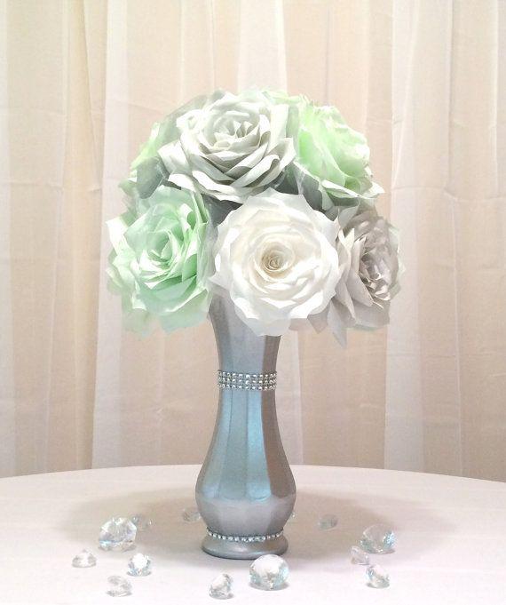 Mint Green Wedding Decoration Ideas: Mint Green Centerpiece Using Paper Flowers In 2019