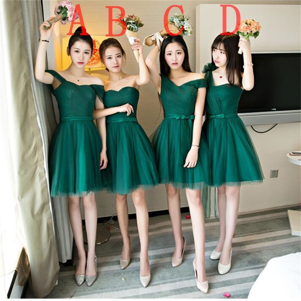 Mismatched dark green tulle short bridesmaid dresses cheap custom
