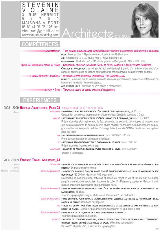 Cv Version Imprimable Cv Violaine Stevenin Violaine Stevenin Architecte Stevenin Modele Cv Imprimable