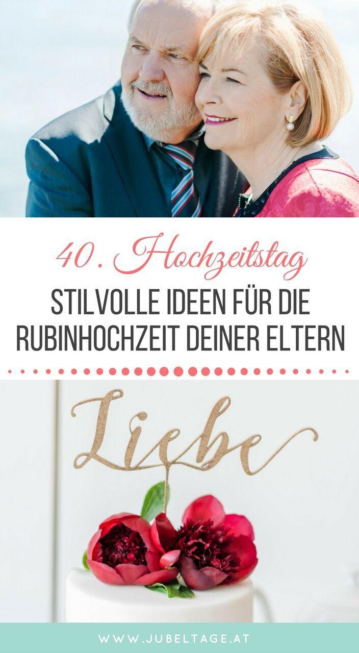Rubinhochzeit moderne inspiration zum 40 hochzeitstag jubeltage diy deko achtsamkeit - Ideen hochzeitstag ...
