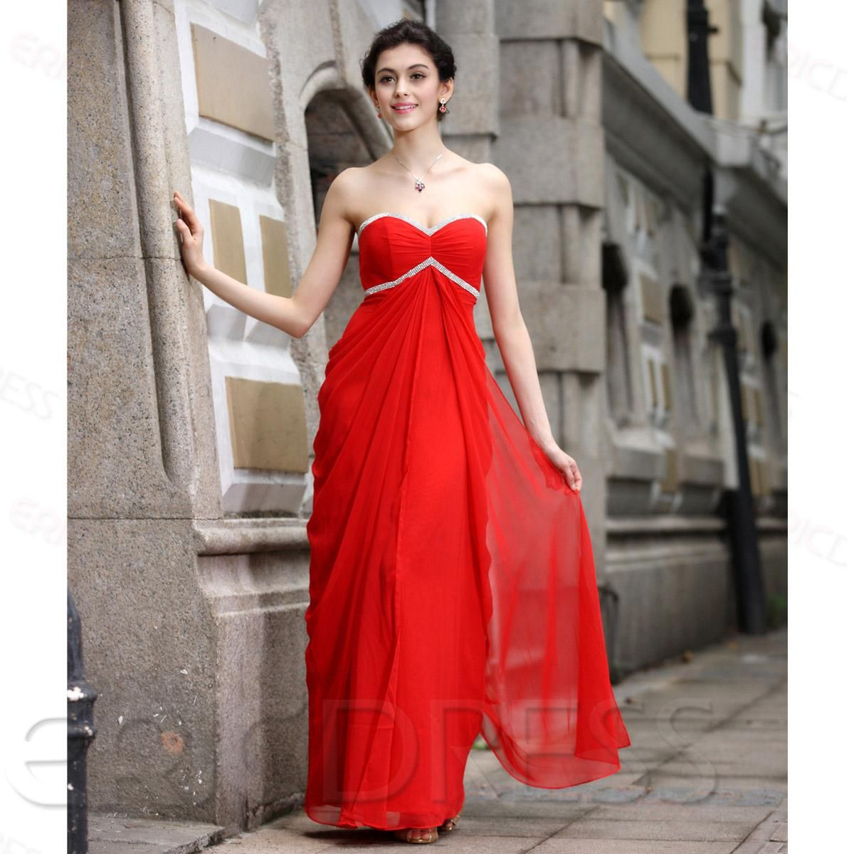 Elegant strapless aline floorlength sweetheart evening dress