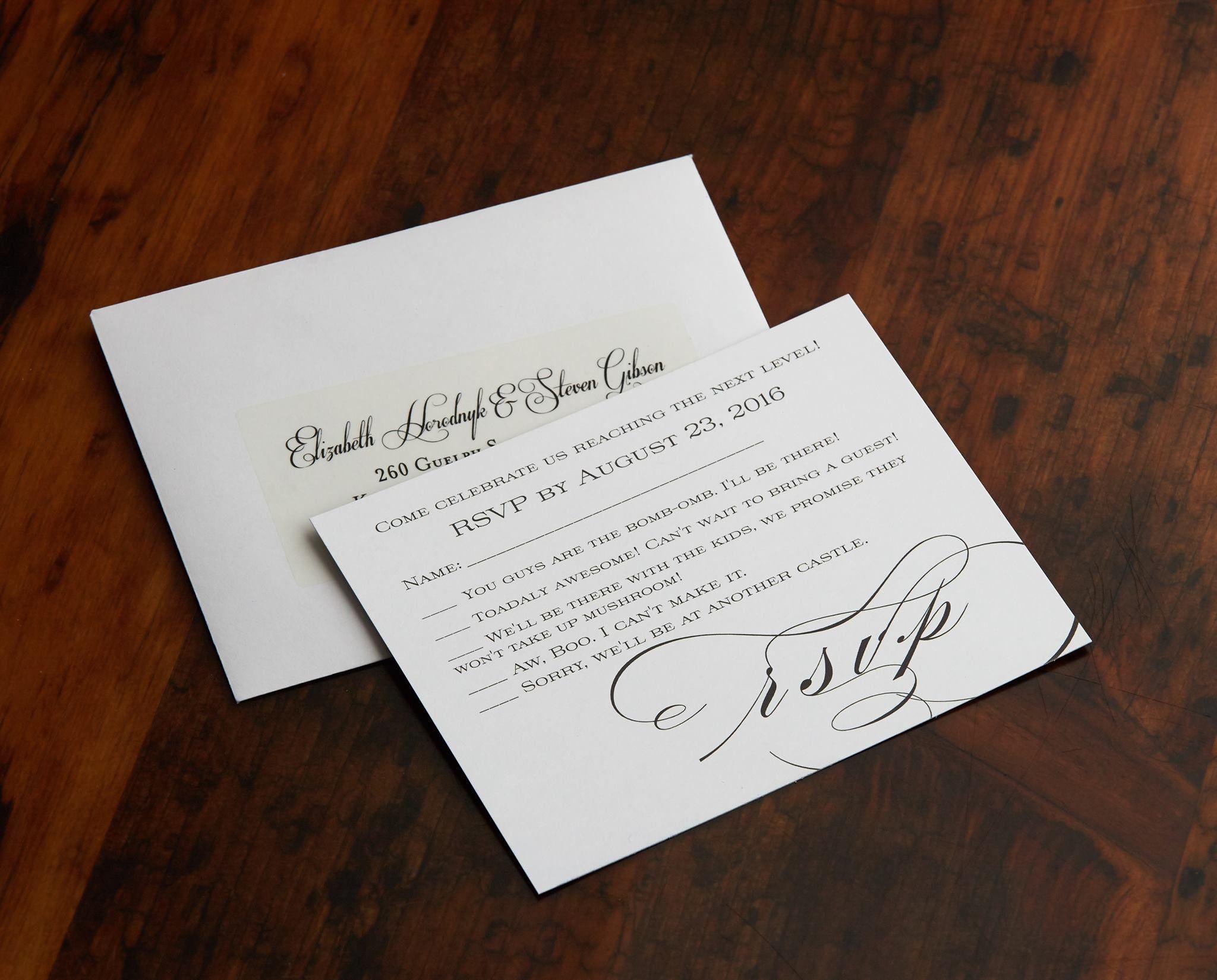 wedding invitation rsvp wording funny%0A Geeky RSVP Card  Nintendo Themed Wedding  Puns  Invitations  Wedding  Geek