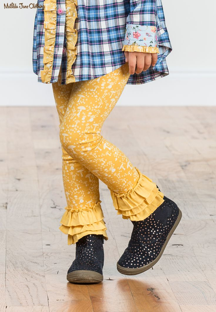 1bab6452bdeea Make Believe, Fall 2017; Stomping Grounds Leggings, Floating Away Tunic.  Yellow. Mushroom Print. Fall Style. Children's Style. Kid Style. Girls  Clothing.