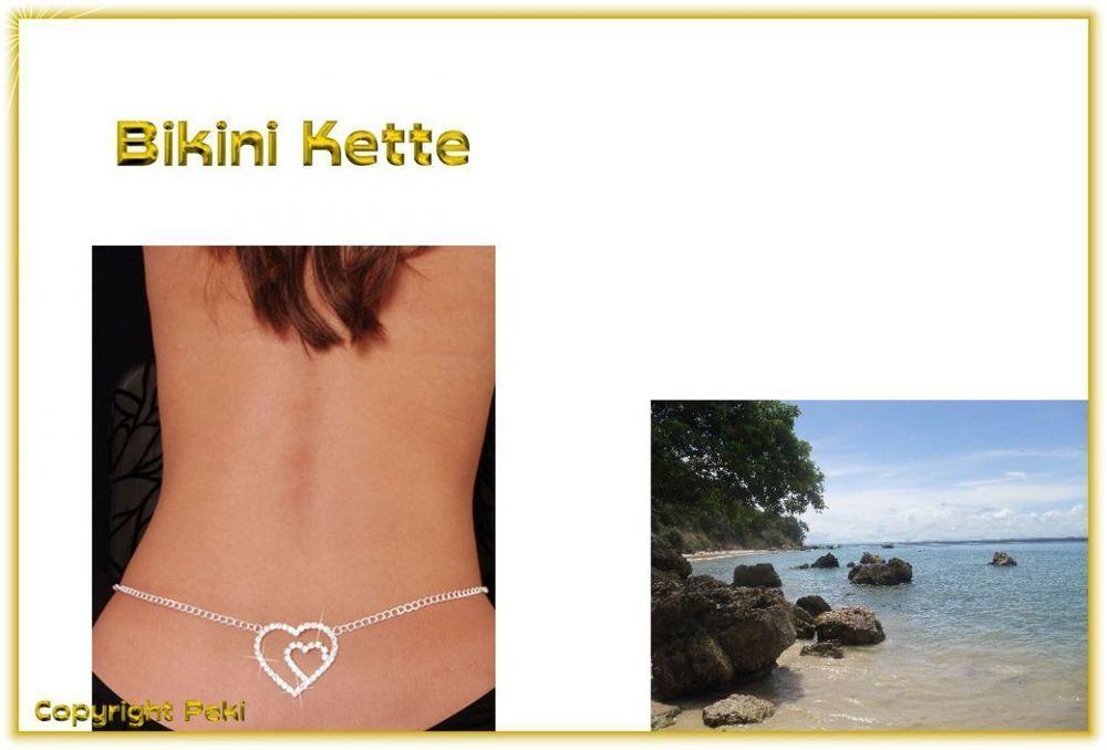 Bikini Erotik Körper Bauch Kette - silberfarben mit Strass