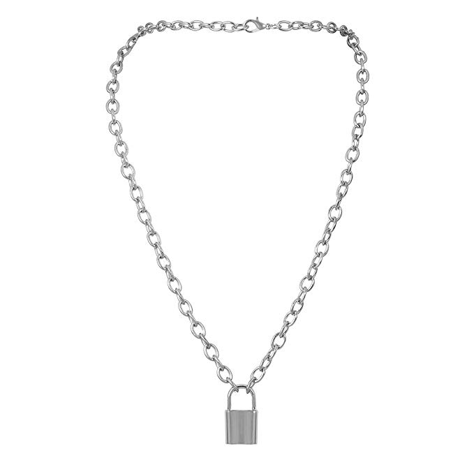 Amazon.com: 7th Moon Lock Pendant Necklace Statement Long