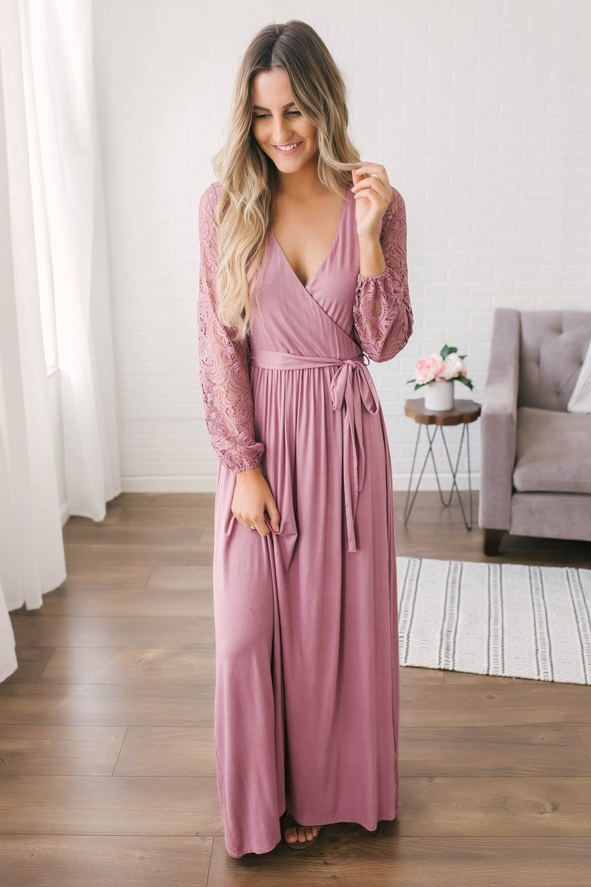 8ddb17a02f2e Faux Wrap Lace Sleeve Maxi Dress - Mauve | Clothing in 2019 | Maxi ...