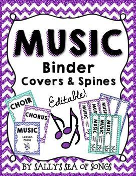 Music Teacher Binder Covers & Spines - Glitter & Chevrons ...