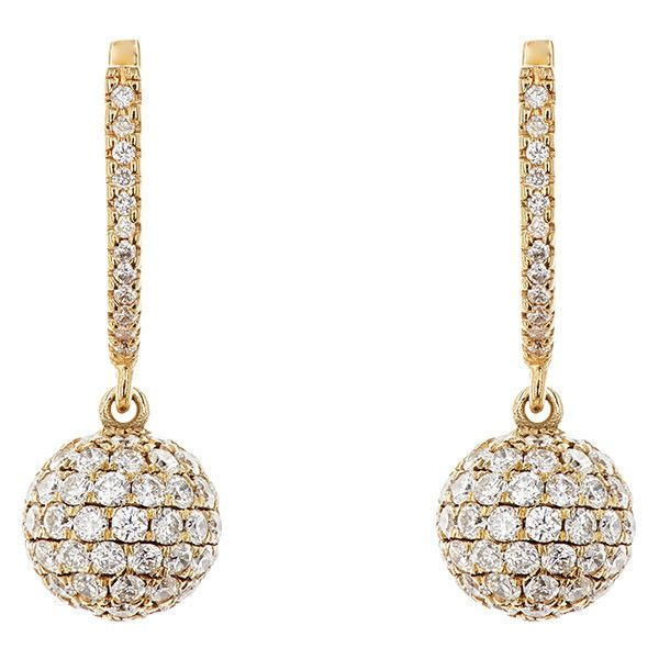 Ileana Makri Women's Pave White Diamond Ball-Drop Earrings ($11,435) ❤ liked on Polyvore featuring jewelry, earrings, colorless, clear crystal jewelry, white diamond earrings, clear drop earrings, ileana makri jewelry and clear earrings