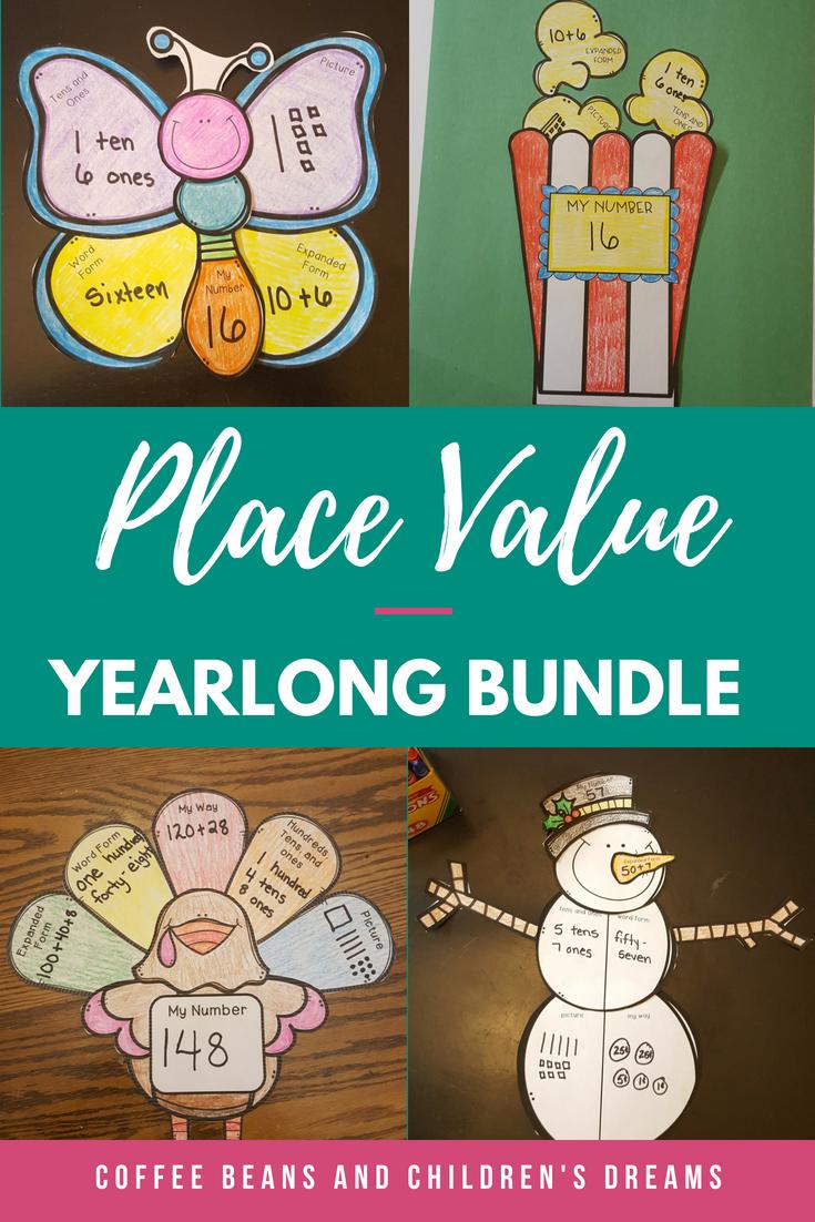 place value craft mega bundle resources k 2 place values math rh pinterest com Place Value Chart Clip Art Place Value Blocks